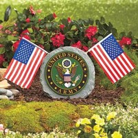 Army Military Garden Stone Flags Memorial Day Labor Day July 4th Yard Home Decor