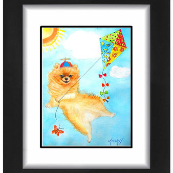 A Flying Pomeranian: Albert Achieves Liftoff  --  ACEO, Print or Blank Greeting Card with Print of  Original Watercolor Painting