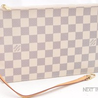 Authentic Louis Vuitton Damier Azur Neverfull Pouch Purse Clutch LV 50225