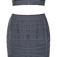 Eve Two Piece Banded Cut Out Bandage Dress - Charcoal