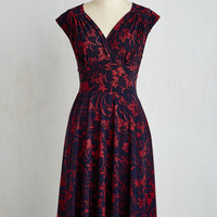 Long Short Sleeves A-line Ease into Elegance Dress in Floral