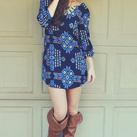 Caught In The Cross Winds Dress: Navy Blue