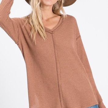 BROWN Thermal Waffle Knit Long Sleeve Top