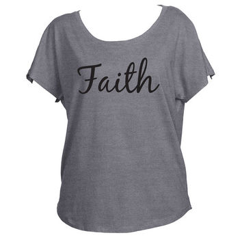Faith Inspirational Motivational Slouchy Drapey Shirt Tri-Blend Dolman Women's Yoga Workout Shirt Trendy Off Shoulder