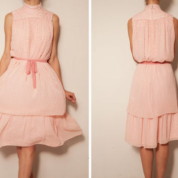 1960's  japanese polka dote pink vintage dress,Pink dress,Chiffon dress,Free waist dress,Tea dress,Sundress,Tea length dress,POlka dot dress
