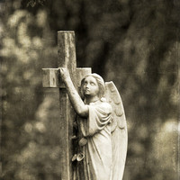 Halloween, Angel Gravestone, Fine Art Photography Print, Vertical, Angel No. 3271