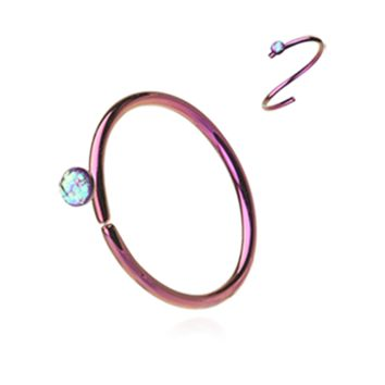 Pink Opal Bendable Nose Ring Nose Hoop  20ga Body Jewelry Steel