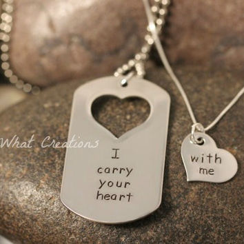 Custom Hand Stamped Matching Necklaces Set I by SayWhatCreations