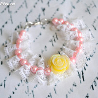 Lace and Pearl Flower Bracelet Bridesmaids Bracelet Flower Girl Bracelet Pink Pearls Yellow Rose Bracelet - Handmade Wedding Accessories