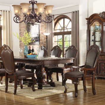 Mc Ferran D5004 7 pc pallisades dark finish wood double pedestal dining table set
