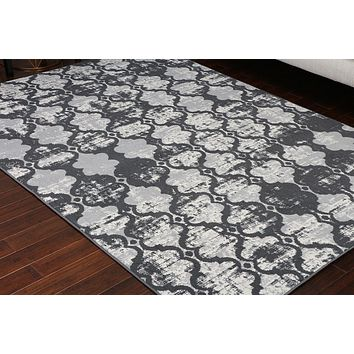 5057 Gray Distressed Moroccan Trellis Area Rugs