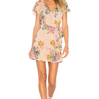 AUGUSTE x REVOLVE Havana Nights Frill Wrap Mini Dress in Blush | REVOLVE