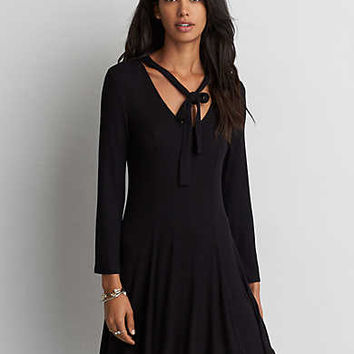 AEO Ribbed Mock Neck Dress, True Black