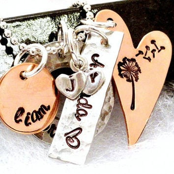 Hand Stamped Necklace - Personalized Mixed Metal Jewelry