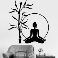 High Quality Oriental Buddha Lotus Blossom Meditation OM Pattern Wall Decal For Indian Living Room Bedroom Door Sticker