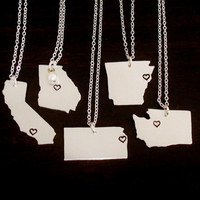 State Necklace, City State Necklace, Personalized State Necklace, Heart State Necklace