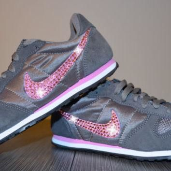 Blinged Out Women's Nike Genicco Casual Running Jogging Shoes Customized With Pink Swa