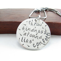 Kindness Sterling Silver Message Pendant Necklace Sterling Silver Hand Stamped Quote Jewelry Silver Chain and Pendant Handmade Metalwork