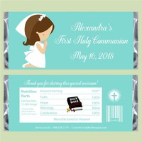 Girl Praying First Communion Candy Bar Wrappers