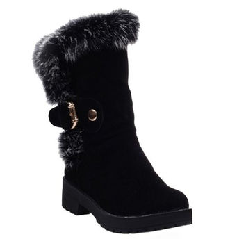 Fur Designed Mid-Calf Boots With Platform Design