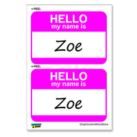 Zoe Hello My Name Is - Sheet of 2 Stickers