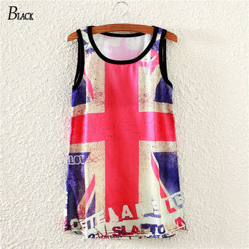 BLACK Brand 2016 New Women Casual T shirt Tops Stars and Stripes Print T Shirt American Flag Printing Tops T Shirt Tank Top