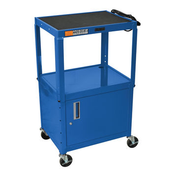 Luxor Blue 42 Adjustable 2 Shelf Mobile Multimedia Multipurpose Rolling Portable AV Cart With Lockable Storage Cabinet Table and 4 Casters