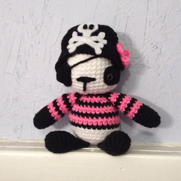 Crocheted Girl Pirate Panda - Stuffed Animal - Amigurumi