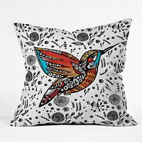 Julia Da Rocha Humming Bird In Paradise Throw Pillow