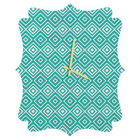 Lisa Argyropoulos Diamonds Are Forever Aquatic Quatrefoil Clock