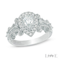 Vera Wang LOVE Collection 1 CT. T.W. Pear-Shaped Diamond Frame Engagement Ring in 14K White Gold