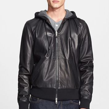 Men's leather bomber jacket with hood – Modern fashion jacket ...