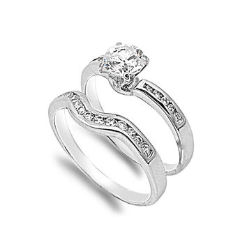 925 Sterling Silver CZ Stackable Set of 2 Bridal Round Center Ring 8MM