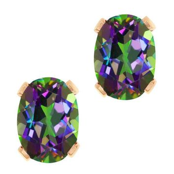 1.90 Ct Oval Shape Green Mystic Topaz Rose Gold Plated Brass Stud Earrings