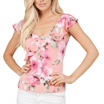 Ruffle Layer Sleeveless V-Neck Floral Scoop Back Blouse Top