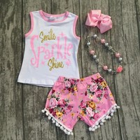 "2 pieces ""Smile Sparkle shine"" girls outfit pink/gold tank flower short baby kids wear boutique with matching accessories"