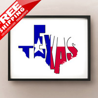 Texas Typography Map Print, Font Art Poster  -  choose your color or flag and size