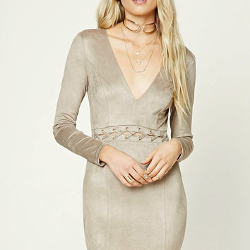 Faux Suede Grommet Panel Dress