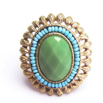 Gilded Vintage Tri-Color Stretch Ring
