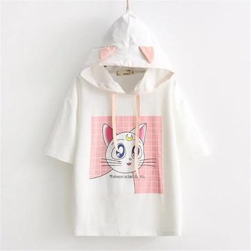 Mori Girl Cute Summer Women T-Shirts Sailor Moon Cat With Ears Cap Female Kawaii Tops Japanese Fashion Lovely Casual Tee