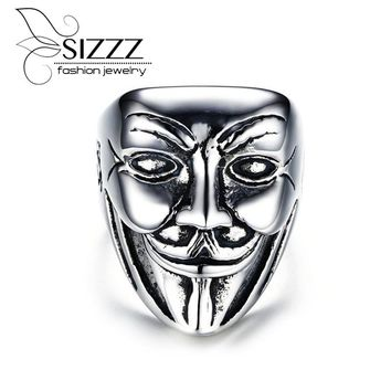 2017 New US Size 8-11 Punk Rock Stainless Steel Mens Biker Rings Vintage Gothic Jewelry Silver Color clown Ring Men