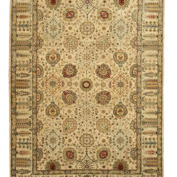 EORC Hand-knotted Wool Ivory Traditional Oriental Jaipur Rug