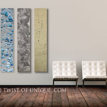 Metallic abstract  Painting - CUSTOM -  panel 3 panel (48 Inches x 12 Inches) Wall Art-  blue, silver, gold
