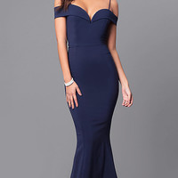 Long Sweetheart Neckline Off-the-Shoulder Prom Dress