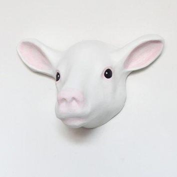 Counting Sheeps   Dream Cacher. Paper Mache Wall Mount Head Sculpture Of White Sheep Animal Wall Decoration
