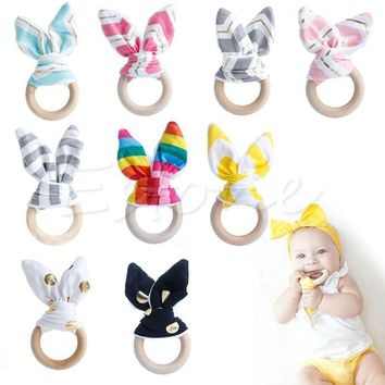 Wooden Baby Toys Bunny Ear Rabbit Natural Sensory