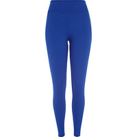 River Island Womens Bright blue textured high waisted leggings