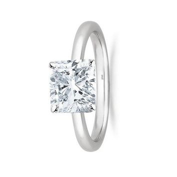1/2 - 2 Carat GIA Certified Platinum Solitaire Cushion Cut Diamond Engagement Ring (I-J Color, VS1-VS2 Clarity)