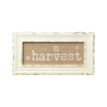 Harvest - Printed Burlap Fabric Framed in Off-White Shabby Chic Frame