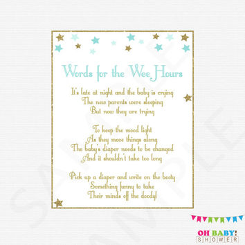 Diaper Game Late Night Diapers Words for the Wee Hours Blue and Gold Baby Shower Boy Twinkle Twinkle Little Star Printable Download STBG